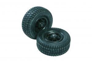 Rubberen wielen - krik ook op ongelijke ondergronden manoeuvreerbaar